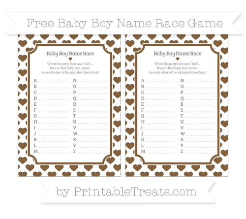 Free Coyote Brown Heart Pattern Baby Boy Name Race Game