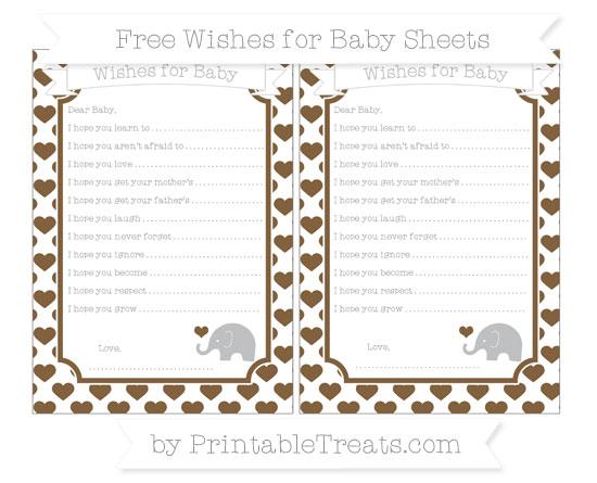 Free Coyote Brown Heart Pattern Baby Elephant Wishes for Baby Sheets