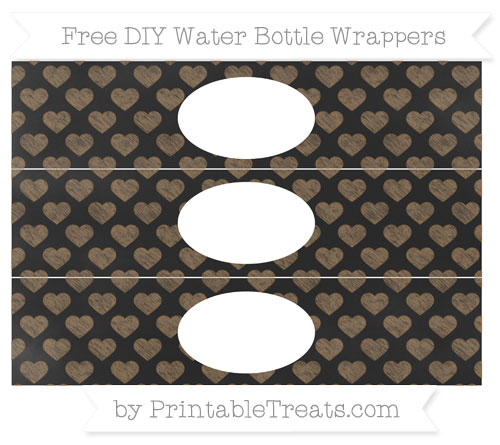 Free Coyote Brown Heart Pattern Chalk Style DIY Water Bottle Wrappers