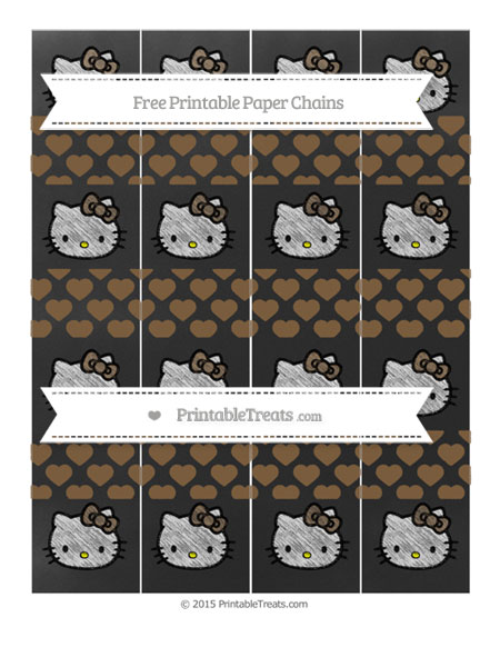 Free Coyote Brown Heart Pattern Chalk Style Hello Kitty Paper Chains