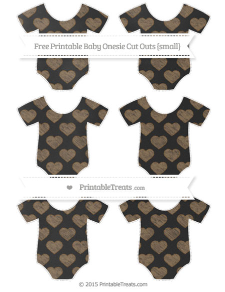 Free Coyote Brown Heart Pattern Chalk Style Small Baby Onesie Cut Outs