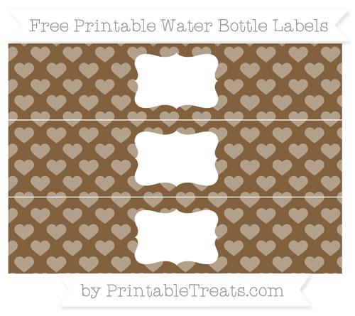 Free Coyote Brown Heart Pattern Water Bottle Labels