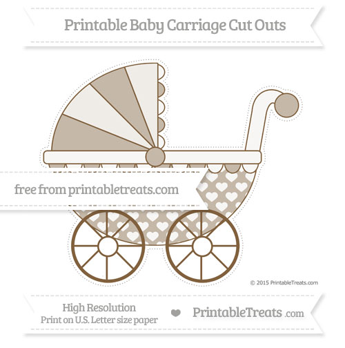 Free Coyote Brown Heart Pattern Extra Large Baby Carriage Cut Outs