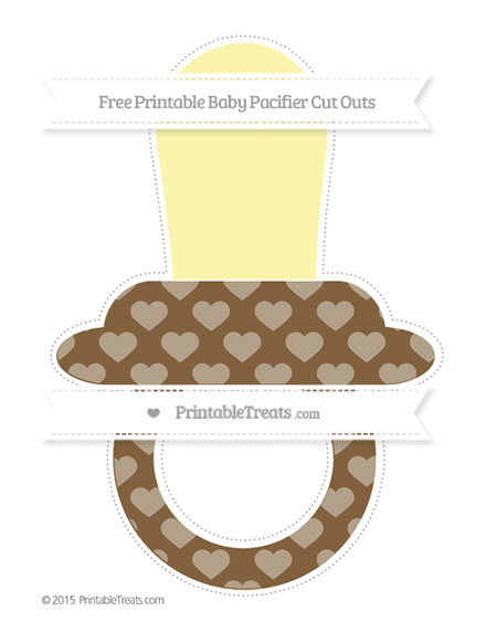 Free Coyote Brown Heart Pattern Extra Large Baby Pacifier Cut Outs