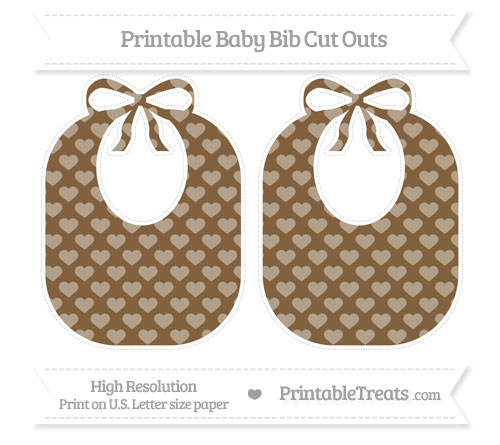 Free Coyote Brown Heart Pattern Large Baby Bib Cut Outs