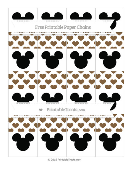 Free Coyote Brown Heart Pattern Mickey Mouse Paper Chains