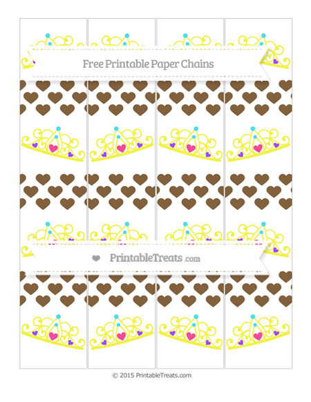 Free Coyote Brown Heart Pattern Princess Tiara Paper Chains