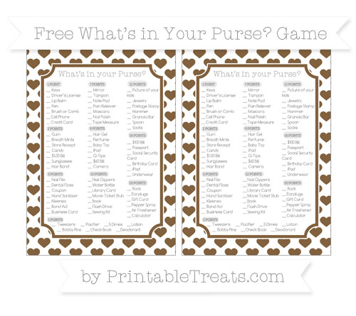 Free Coyote Brown Heart Pattern What's in Your Purse Baby Shower Game