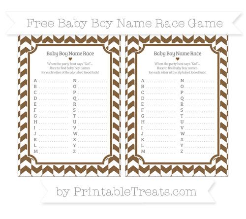 Free Coyote Brown Herringbone Pattern Baby Boy Name Race Game