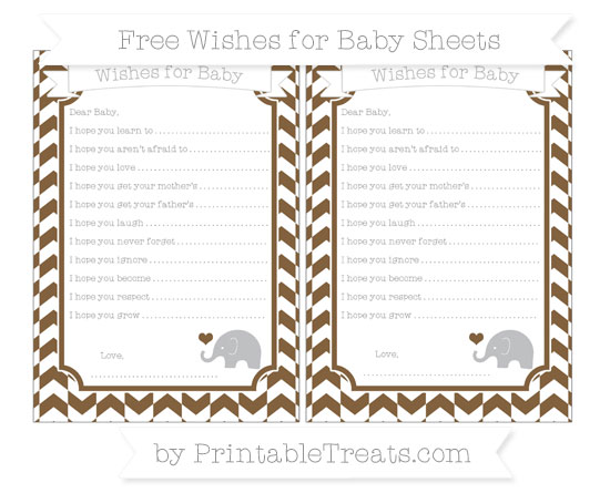 Free Coyote Brown Herringbone Pattern Baby Elephant Wishes for Baby Sheets
