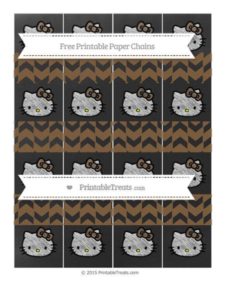 Free Coyote Brown Herringbone Pattern Chalk Style Hello Kitty Paper Chains