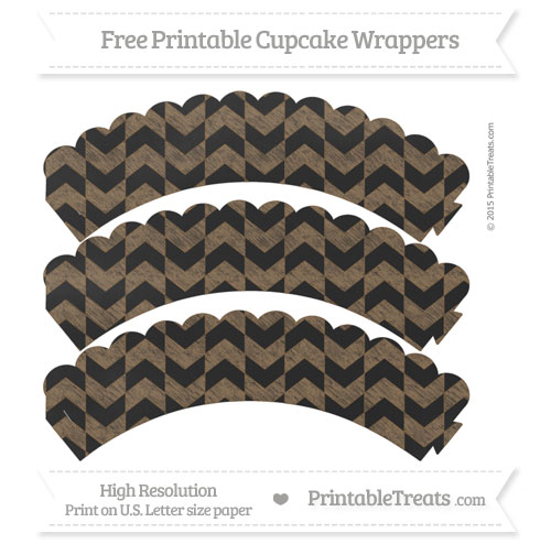 Free Coyote Brown Herringbone Pattern Chalk Style Scalloped Cupcake Wrappers
