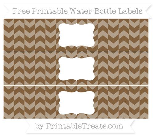 Free Coyote Brown Herringbone Pattern Water Bottle Labels