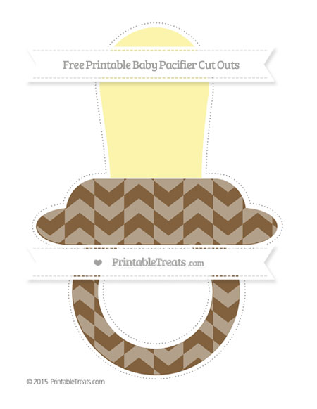 Free Coyote Brown Herringbone Pattern Extra Large Baby Pacifier Cut Outs