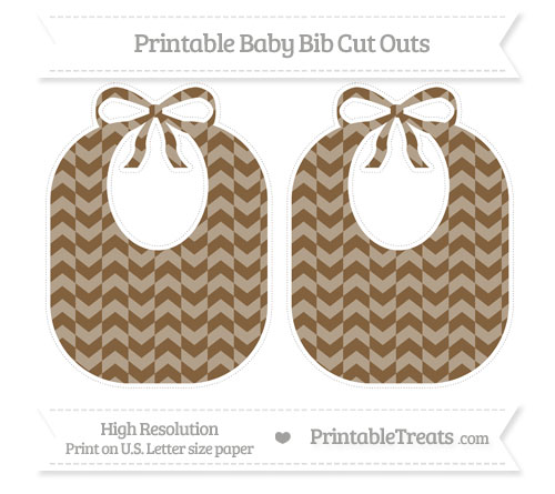 Free Coyote Brown Herringbone Pattern Large Baby Bib Cut Outs