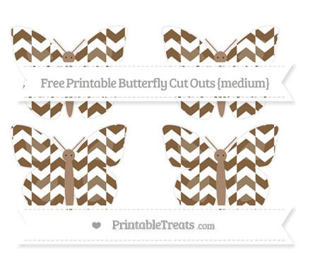 Free Coyote Brown Herringbone Pattern Medium Butterfly Cut Outs