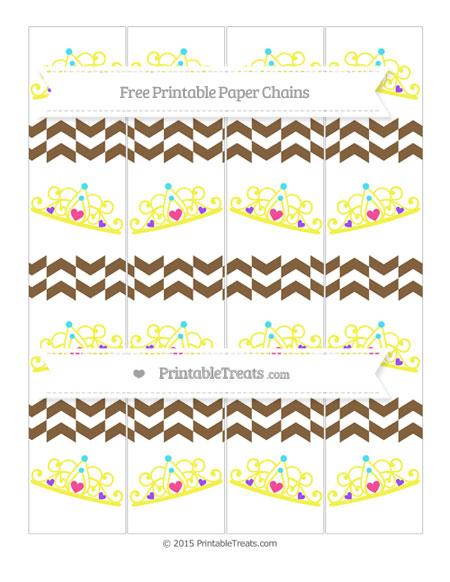 Free Coyote Brown Herringbone Pattern Princess Tiara Paper Chains