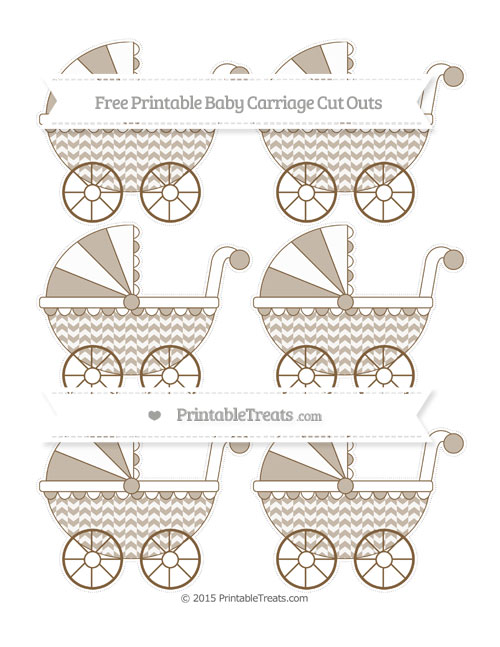 Free Coyote Brown Herringbone Pattern Small Baby Carriage Cut Outs