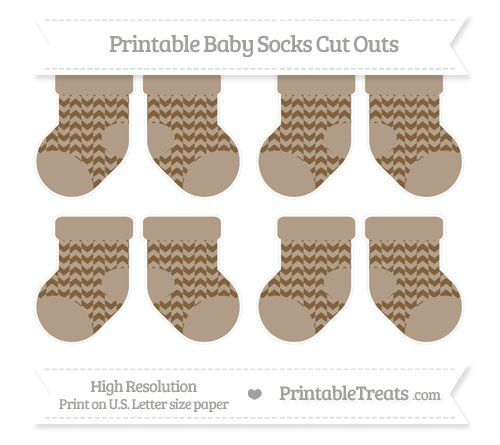 Free Coyote Brown Herringbone Pattern Small Baby Socks Cut Outs
