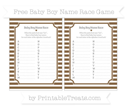 Free Coyote Brown Horizontal Striped Baby Boy Name Race Game