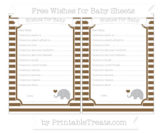 Free Coyote Brown Horizontal Striped Baby Elephant Wishes for Baby Sheets