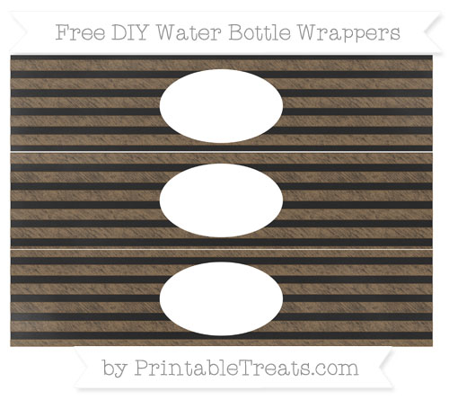 Free Coyote Brown Horizontal Striped Chalk Style DIY Water Bottle Wrappers