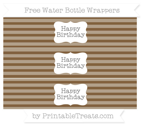 Free Coyote Brown Horizontal Striped Happy Birhtday Water Bottle Wrappers