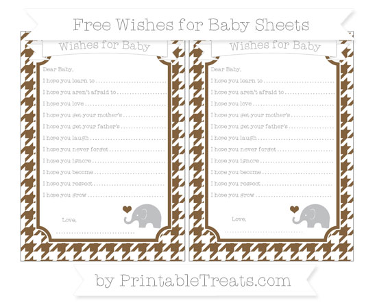 Free Coyote Brown Houndstooth Pattern Baby Elephant Wishes for Baby Sheets