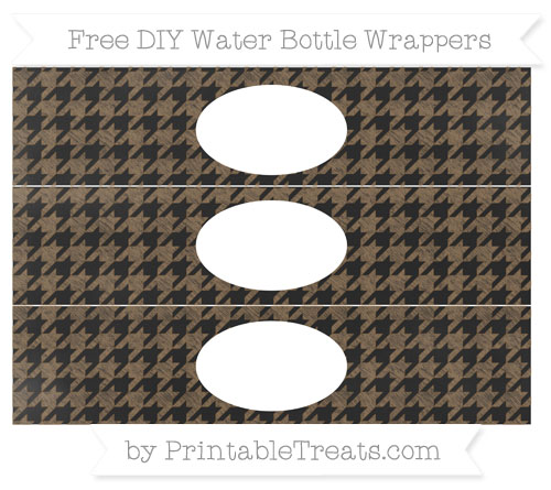 Free Coyote Brown Houndstooth Pattern Chalk Style DIY Water Bottle Wrappers