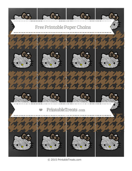 Free Coyote Brown Houndstooth Pattern Chalk Style Hello Kitty Paper Chains