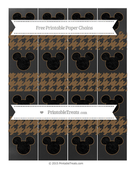 Free Coyote Brown Houndstooth Pattern Chalk Style Mickey Mouse Paper Chains