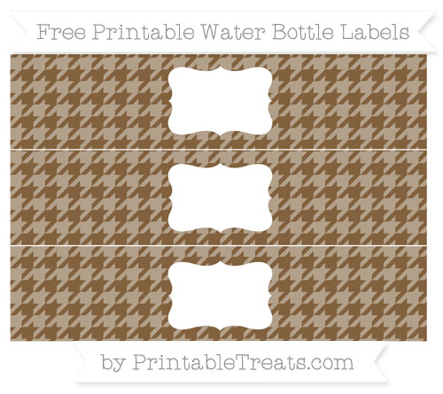 Free Coyote Brown Houndstooth Pattern Water Bottle Labels