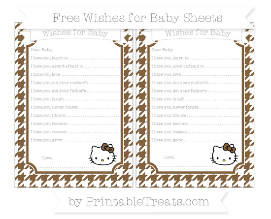 Free Coyote Brown Houndstooth Pattern Hello Kitty Wishes for Baby Sheets