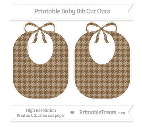 Free Coyote Brown Houndstooth Pattern Large Baby Bib Cut Outs