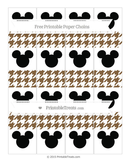 Free Coyote Brown Houndstooth Pattern Mickey Mouse Paper Chains