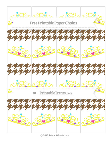Free Coyote Brown Houndstooth Pattern Princess Tiara Paper Chains