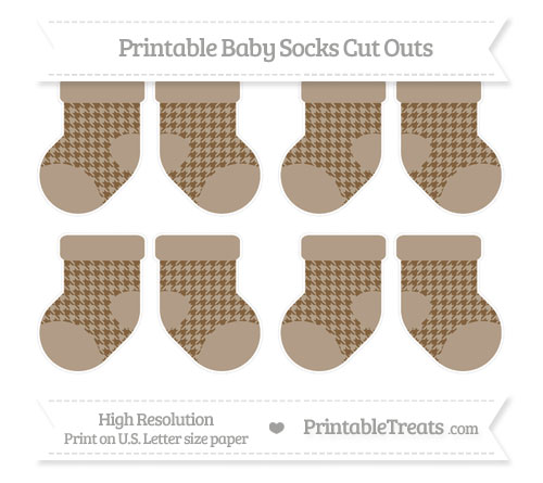 Free Coyote Brown Houndstooth Pattern Small Baby Socks Cut Outs