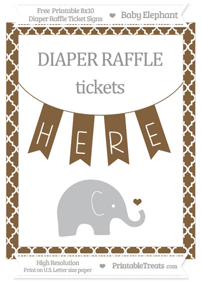 Free Coyote Brown Moroccan Tile Baby Elephant 8x10 Diaper Raffle Ticket Sign