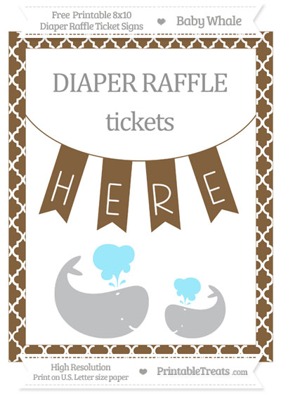 Free Coyote Brown Moroccan Tile Baby Whale 8x10 Diaper Raffle Ticket Sign