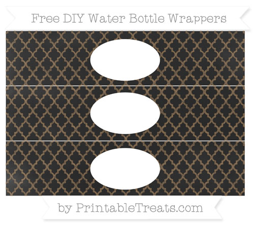 Free Coyote Brown Moroccan Tile Chalk Style DIY Water Bottle Wrappers