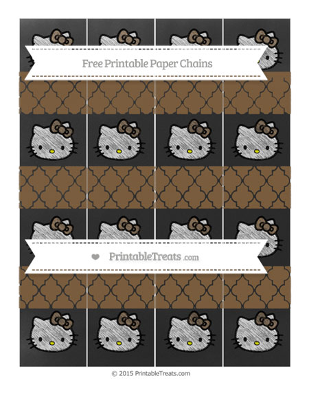 Free Coyote Brown Moroccan Tile Chalk Style Hello Kitty Paper Chains