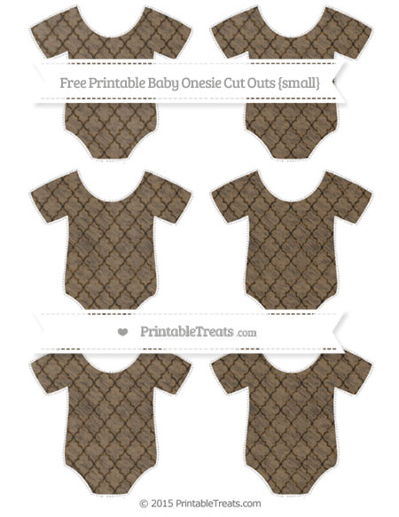 Free Coyote Brown Moroccan Tile Chalk Style Small Baby Onesie Cut Outs