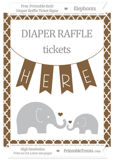 Free Coyote Brown Moroccan Tile Elephant 8x10 Diaper Raffle Ticket Sign