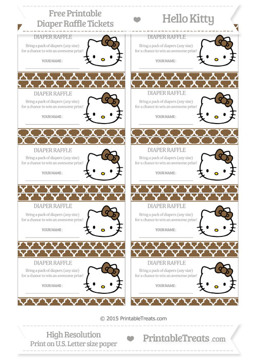 Free Coyote Brown Moroccan Tile Hello Kitty Diaper Raffle Tickets