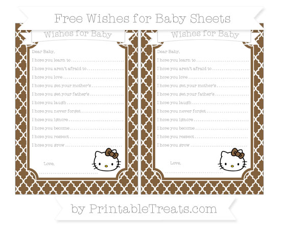 Free Coyote Brown Moroccan Tile Hello Kitty Wishes for Baby Sheets