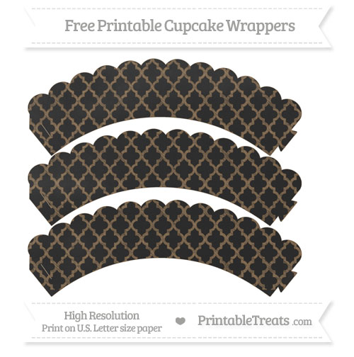 Free Coyote Brown Moroccan Tile Pattern Chalk Style Scalloped Cupcake Wrappers