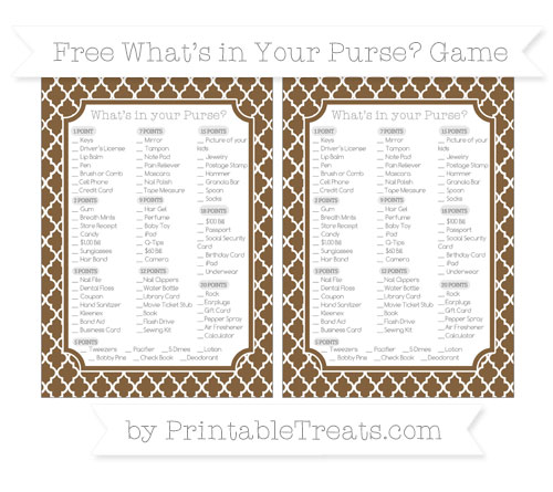 Free Coyote Brown Moroccan Tile What's in Your Purse Baby Shower Game