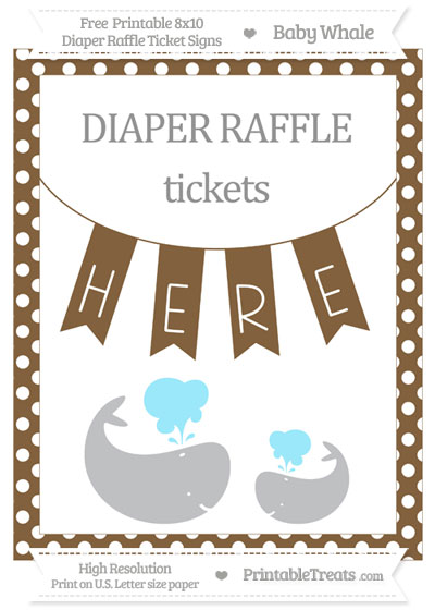 Free Coyote Brown Polka Dot Baby Whale 8x10 Diaper Raffle Ticket Sign