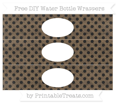 Free Coyote Brown Polka Dot Chalk Style DIY Water Bottle Wrappers