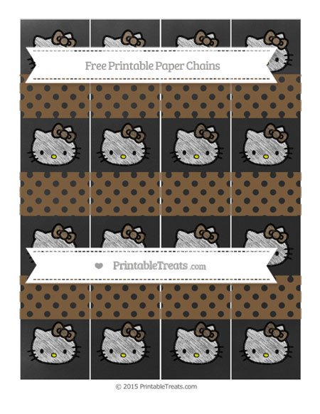 Free Coyote Brown Polka Dot Chalk Style Hello Kitty Paper Chains